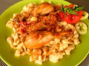 Hungarian chicken stew with dumpling